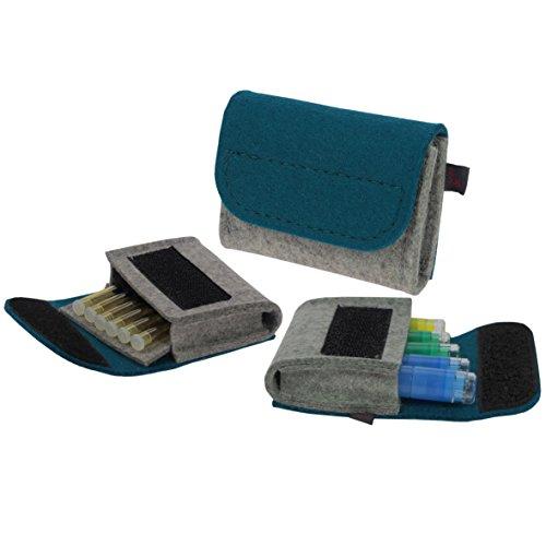 Premium Taschenapotheke von ebos | handgefertigte Reiseapotheke aus echtem Wollfilz | 6 Schlaufen für Globuli-Röhrchen | Globuli-Tasche zur Aufbewahrung von homöopathischer Hausapotheke | petrol