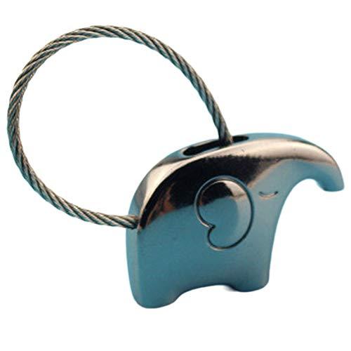 Regalo de San Valentín Pareja Creativa Llavero con Forma de Elefante Aleación de Zinc Coche Brillante Llavero Duradero Decoración