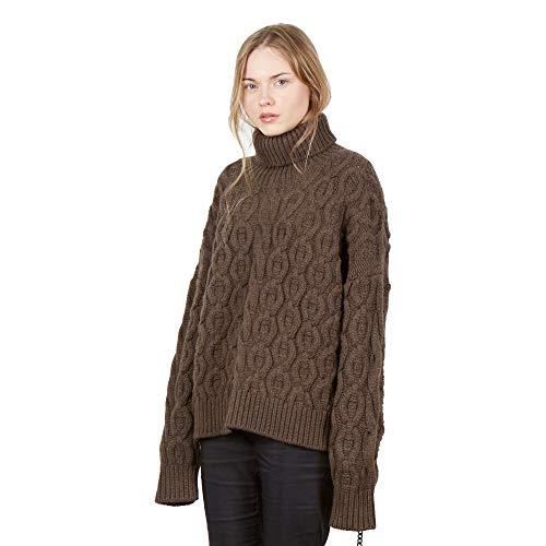 Dames pullover Coltrui trui van Mix kasjmier en merino wol kleur bruin