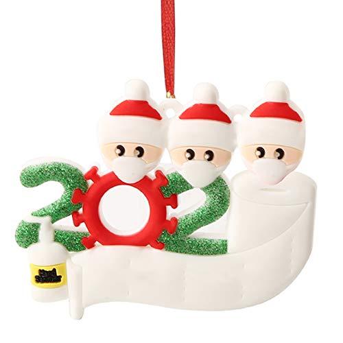 Hbsite Adorno navideño Colgantes navideños 2020 Cuarentena personalizada Adornos para árboles de navidad familiares Decoración navideña Superviviente Regalo creativo personalizado (3 personas familia)
