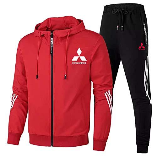 Hickeyy Herren Trainingsanzug Jogging Anzug Mitsu-bishi Sportanzug Kapuzen Zip Jacke + Hose Entspannen/Rot/L sponyborty