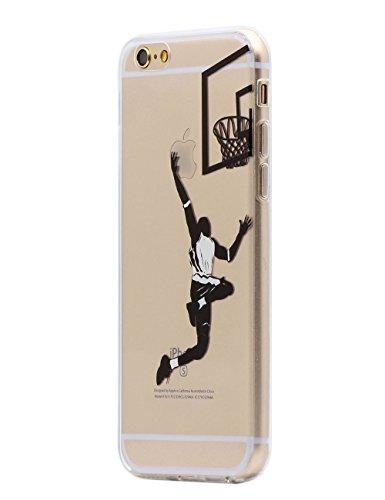 Keyihan Coque iPhone 6 / 6S Housse Motif Noir Intéressant Comique Ultra Léger Mince Clair Transparente Souple TPU Silicone Protecteur Étui pour Apple iPhone 6 6S (Jouer au Basket)
