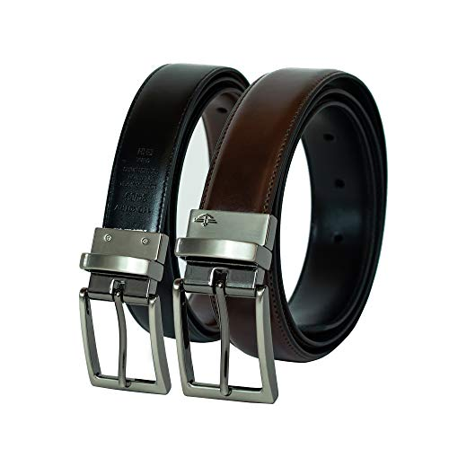 Dockers Men's  32mm Feathered Edge Reversible Stitch Belt,Brown/Black,32