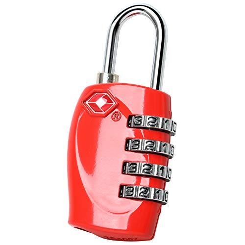 TRIXES Lucchetto di Sicurezza a 4 Combinazioni per Valigia Approvato dalla TSA - Rosso
