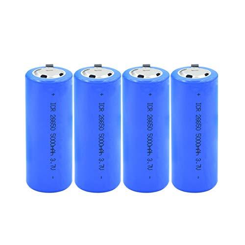 WSXYD PTC Protegió La Batería De Iones De Litio De 3.7v 26650 5000mah, Litio para Los Walkie-Talkies Ligeros De La Seguridad Led 4pieces