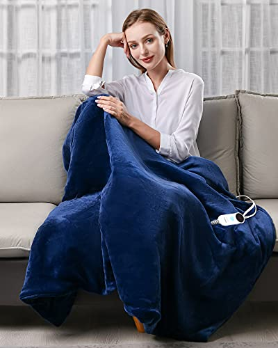 Electric Heated Blanket Throw, Luwior Heating Blanket with 6 Heat Settings & 3 Hours Auto Off, Super Soft Flannel Fast Heating & Machine Washable...