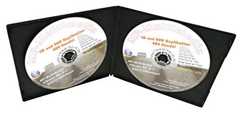 50x Doppel CD Slim Case 2-fach Doppel-CD Hüllen aus PP Schwarz, Soft Slimcase 2er CD Leerhüllen mit Außenfolie für Papier-Einleger