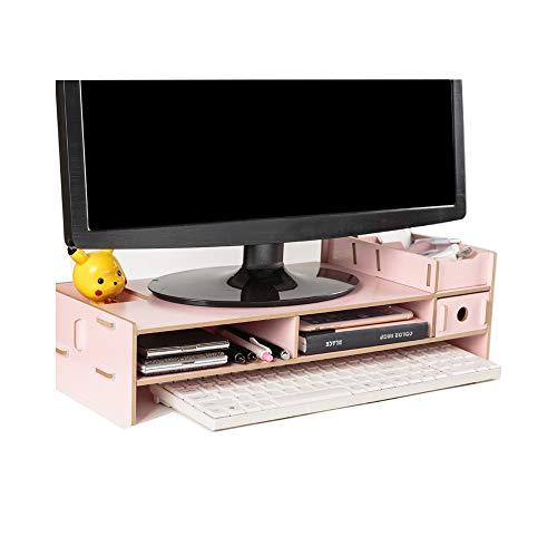 JieDianKeJi Wooden Monitor Holder Bracket Computer Stand Desktop Storage Shelf Laptop Stand Screen Rack Desk PC Riser Organizer