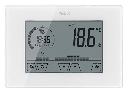 Vimar 02910 Cronotermostato Touch Screen per Controllo della Temperatura, batterie Stilo AA LR6 1,5 V (Non fornite), Installazione a Parete