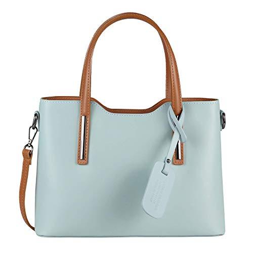 OBC Made in Italy - Borsa da donna in vera pelle, borsa a tracolla in pelle bovina, borsa a tracolla (azzurro/marrone)
