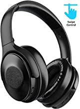 Active Noise Cancelling Headphones Bluetooth 5.0 Wireless Headphone, MEBUYZ Touch Control Quick Charge Over Ear with Mic Hi-Fi Sound 30 Hours Playtime ANC Headset, Soft Protein Earpads with Leather