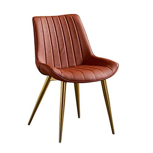ZYXF Esszimmerstuhl PU-Leder Dining Chair mit goldenen Metallbeinen Sitz und Rückenlehne for Lounge Room Corner Stühle Make-up Hocker (Color : Orange)