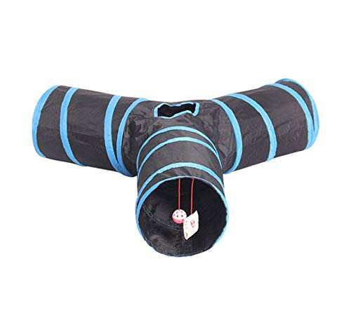 Cosy Life Cat Tunnel with Toy Tunnel for Small Animals - Y Shape - Black/Blue