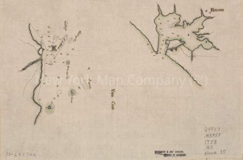 1758 Map|Title: Havana. Vera Cruz|Subject: Cuba|Early Harbors|Havana, Manuscript|Mexico|Vera Cruz Re