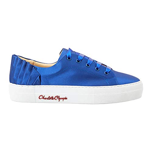 charlotte olympia Ladies Blue Sneaker Satin W Pleat Bk, Brand Size 38 (US Size 8)