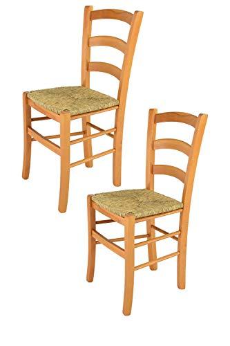 Tommychairs – Juego de 2 sillas Modelo Venice para Cocina y Comedor con Robusta Estructura de Madera de Haya barnizada Color Miel y con Asiento de Paja auténtica