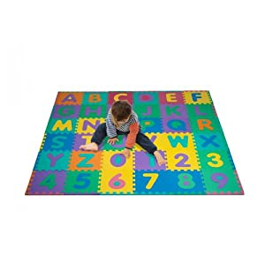 """Hey! Play! Foam Floor Alphabet and Number Puzzle Mat for Kids, 96-Piece Multi, 72.5""""Lx72.5""""Wx.25""""H"""