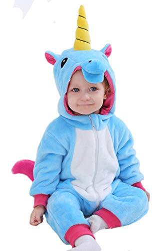 Doladola Franela de para bebé Animal de Dibujos Animados Unicornio con Capucha Mameluco Pantalones de Peto para bebés niñaMonos para bebés niño