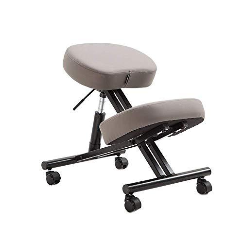 YINGGEXU Silla de comedor Ergonómica silla de rodillas, rodillas silla ortopédica Con asiento trasero de cuero de imitación - Ajuste manual ayuda a prevenir silla de rodilla coxis (Color: gris, tamaño