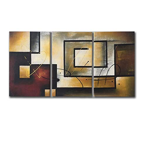 Mon Kunst 100% Hand Painted Oil Painting Abstract Art Large Modern Art 3 Piece Wall Art Canvas Art for Home Decoration(Stretched and Framed) Ready to Hang by Mon Kunst