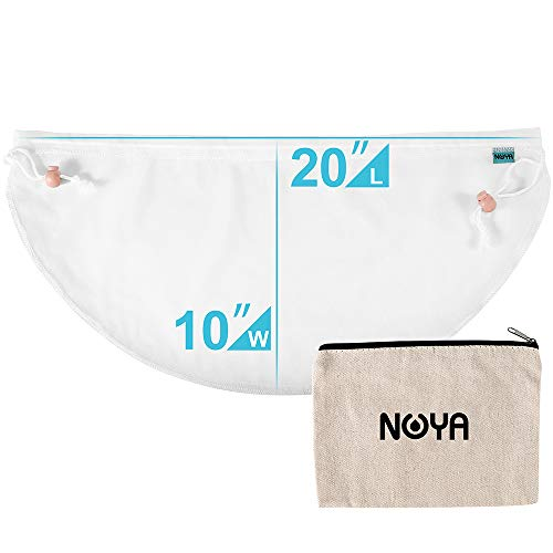 Reusable Nut Milk Bag - NOYA 20x10in Greek Yogurt Strainer Pouch Fits 12.5in Colander, 100 Micron Nylon Straining Cheesecloth Fine Mesh Strainer - BPA Free