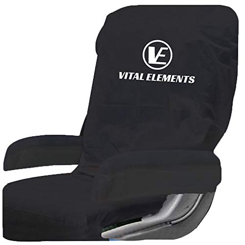 Airplane Seat Covers (with Armrest) 2 SETS : Disposable Also for Theater and Restaurants (Black)
