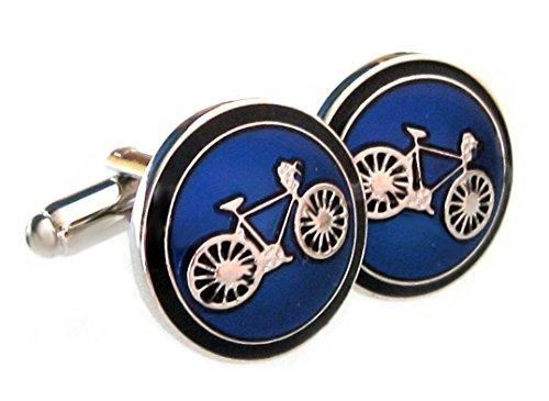 Unbekannt Manschettenknöpfe Fahrrad rund silbern + schwarzer royal Blauer Lack + Geschenkbox schwarz