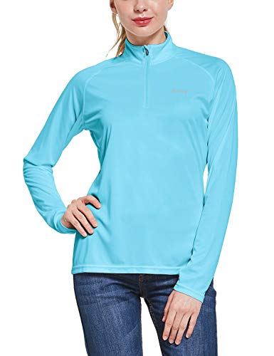 BALEAF Women's UPF 50+ Sun Protection T-Shirt Long Sleeve Half-Zip Thumb Hole Outdoor Performance Blue Size XXL