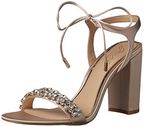 Jewel Badgley Mischka Women's UZURI Sandal, Champagne Satin, 8.5 M US