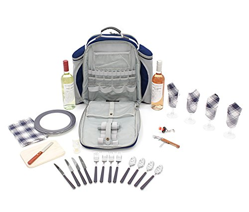 Greenfield Collection Deluxe Navy Blue Picnic Backpack Hamper for Four People