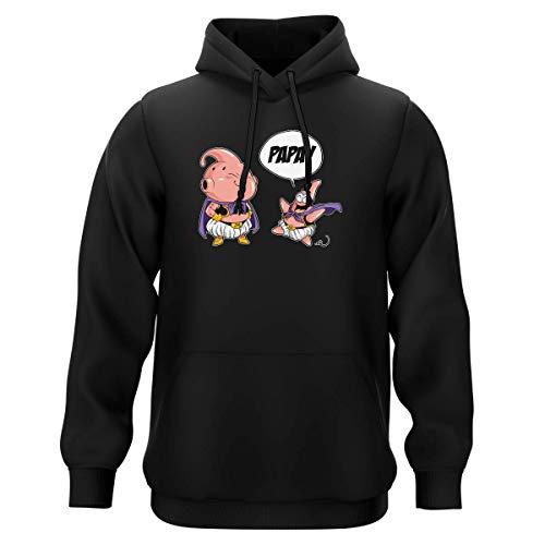 Sweat-Shirt à Capuche Noir Parodie Dragon Ball Z - Bob l'éponge - Boubou et Patrick l'étoile de Mer - Tel père tel Fils (Version SD) (Sweatshirt de qualité Premium de Taille S - imprimé en France)