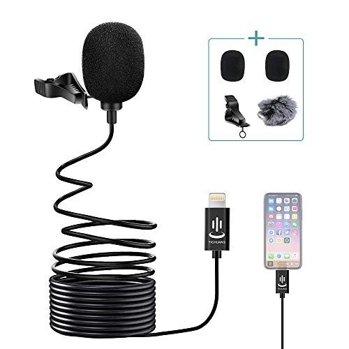 Yichuang Microphone for iPhone,Lavalier Lapel Microphone Speaker Omnidirectional Audio Video Recording for iPhone iPad(6M)