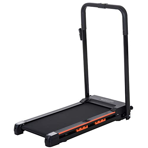 HOMCOM Elektrisches Laufband mit LCD Display, Faltbares Fitnessgerät, 1-6 Km/h, Stahl, Schwarz, 54 x 101 x 105 cm