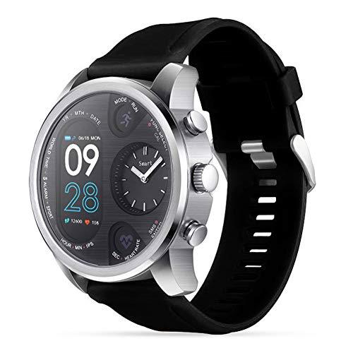 SUIBIANBA Doppelzifferblatt Mode Quarz Uhrwerk Maschinen, Bluetooth Smart Watch, Herzfrequenzüberwachung, wasserdicht Ip68,C