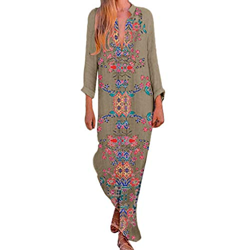 Price comparison product image perfectCOCO Women Boho Floral Dress Long Maxi Slit Dresses Beach Daily Wear Khaki
