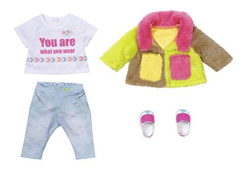 Zapf Creation 830154 BABY born Deluxe Regenbogen Mantel 43 cm - Puppenkleidung Set bestehend aus Jacke, Shirt, Hose und Schuhen