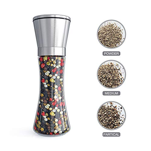Fsdifly Original Stainless Steel Salt or Pepper Grinder  Tall Salt or Pepper Shakers with Adjustable Coarseness  Salt Grinders or Pepper Mill Shaker (Single Package) B