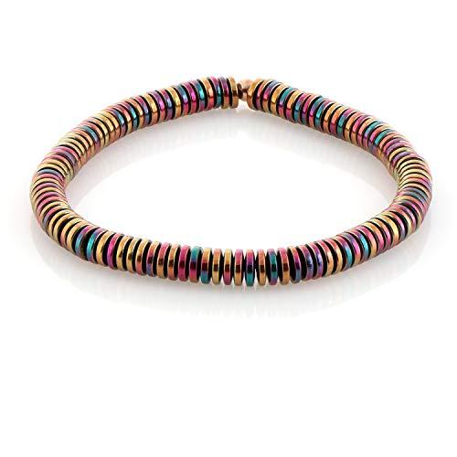 Pulseras de hematita arcoíris con cuentas de piedras preciosas, pulseras de hematita arcoíris de oro, pulsera elástica para hombres y mujeres