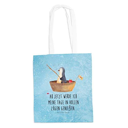 Mr. & Mrs. Panda Shopper, Jutebeutel, Tragetasche Pinguin Angelboot mit Spruch - Farbe Eisblau