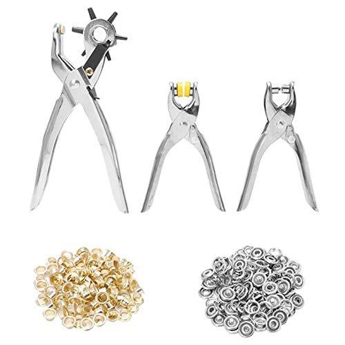 ACAMPTAR 128 Teile/Satz Leder Locher Reparatur Werkzeug ?sen ?sen + Zangen Kit Neue (Silber)
