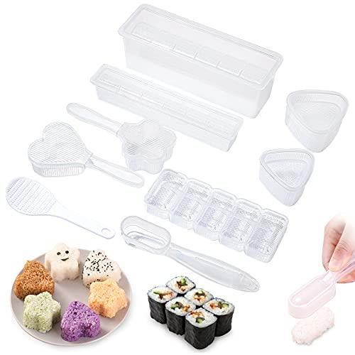 yumcute 9 Stück Sushi Maker Kit Sushi Maker Kit Reisform Onigiri dreieckige Sushi DIY Selber Sushi Machen Set mit Wiederverwendbar Sushi-Form Antihaft-oberfläche Einfache Reinigung für