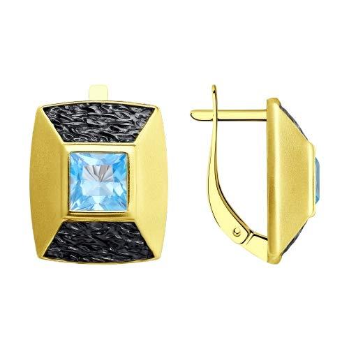 Pendientes de plata de ley 925 con topacio chapado en oro de la marca Sokolov en Secretforyou