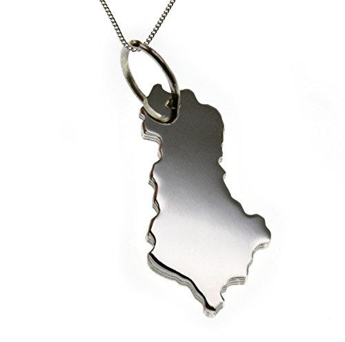 50cm Halskette + Albanien Anhänger in massiv 925 Silber