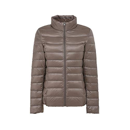 LUOBANIU Damen Daunenjacke Ultraleicht Jacke Übergangsjacke Steppjacke Herbst-Winter mit Stehkragen Khaki XL