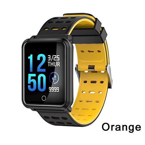 ZCPWJS Smartes Armband N88 Smart Watch Männer IP68 Wasserdichte Herzfrequenz Blutdruckmessgerät Sport Smart Armband Fitness Tracker Smartwatch,Gelb