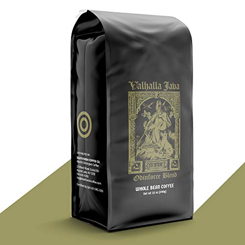 VALHALLA JAVA Whole Bean Coffee [12 Oz.] USDA Certified Organic, Fair Trade, Arabica and Robusta Beans (1-Pack)