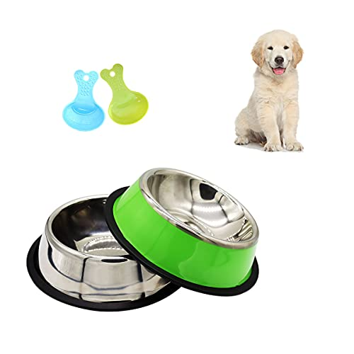 2 Stainless Steel Dogs Bowls with 2 Spoon,Non-slip,Medium And Large Pet Food Bowl And Water Bowl (M)