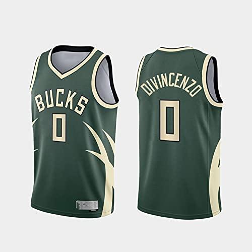NBA Basketball Jersey Milwaukee Bucks 0# Divincenzo Jersey Cool Tela Transpirable Unisex Baloncesto Ventilador Sin Mangas Deporte Chaleco Top,L