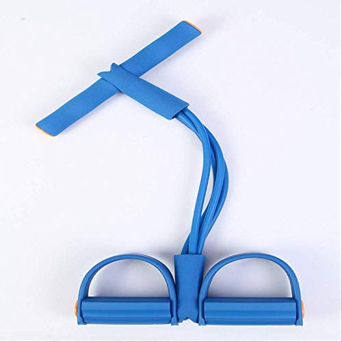 QWESD Elastic Sport - Tirador de Tobillo con Pedal de 4 Tubos, Bandas de Resistencia para Adelgazar, Yoga, Fitness, 5 Colores en el Interior, tensión, Sentarse, Tirar, Cuerda, Azul