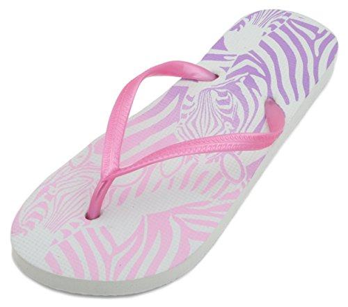 Sandrocks Damen-Flipflops mit Zebra-Druck , Pink - rose - Größe: 38 - 39